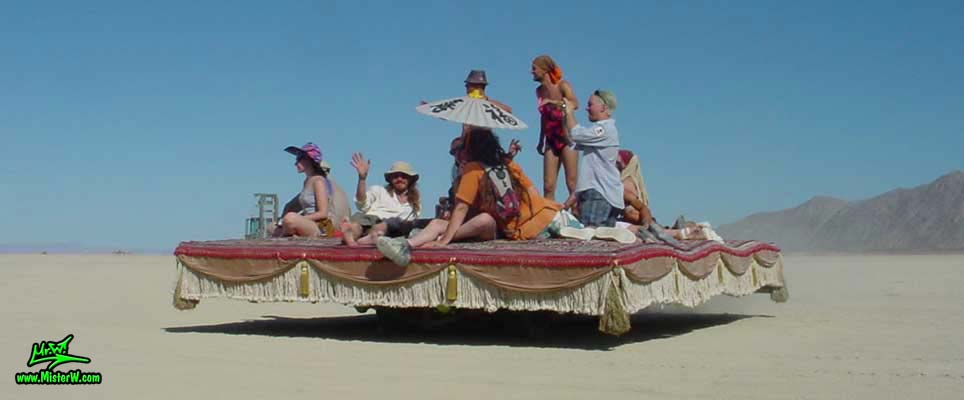Photo of Magic Carpet Ride Mutant Vehicle / Art Car in Black Rock City, Nevada, 2004. Magic Carpet Ride Art Car
