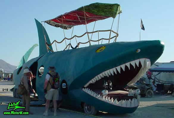 Photo of the Shark Bar Mutant Vehicle / Art Car in Black Rock City, Nevada, 2002. Shark Art Car