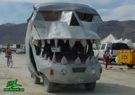 Photo of a Silver Skull Mutant Vehicle / Art Car in Black Rock City, Nevada, 2004. Silver Skull Art Car