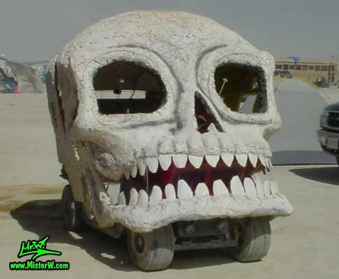 White Skull Art Car