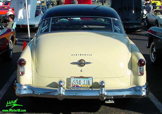 Photo of a white 1950 Oldsmobile 98 2 Door Hardtop Coupe at the Scottsdale Pavilions Classic Car Show in Arizona. 1950 Oldsmobile 98 Rearview