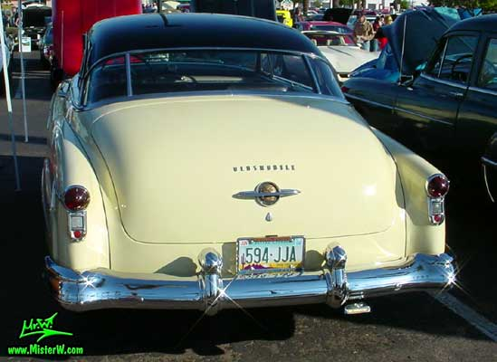Photo of a white 1950 Oldsmobile 98 2 Door Hardtop Coupe at the Scottsdale Pavilions Classic Car Show in Arizona. 1950 Oldsmobile