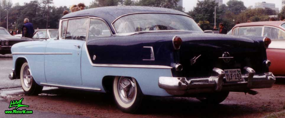 Photo of a blue 1954 Oldsmobile 88 2 Door Hardtop Coupe at a Classic Car Meeting in Germany. 1954 Oldsmobile 88 Rearview