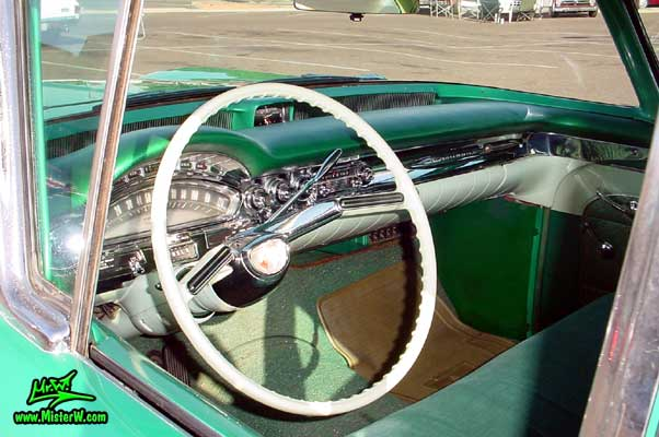 Photo of a green 1958 Oldsmobile 4 Door Hardtop Sedan at a Classic Car Meeting in Arizona. 1958 Oldsmobile 98 Dashboard & Interior