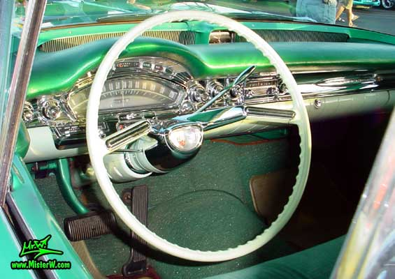Photo of a green 1958 Oldsmobile 4 Door Hardtop Sedan at a Classic Car Meeting in Arizona. 1958 Oldsmobile 98 Odometer & Dash Board