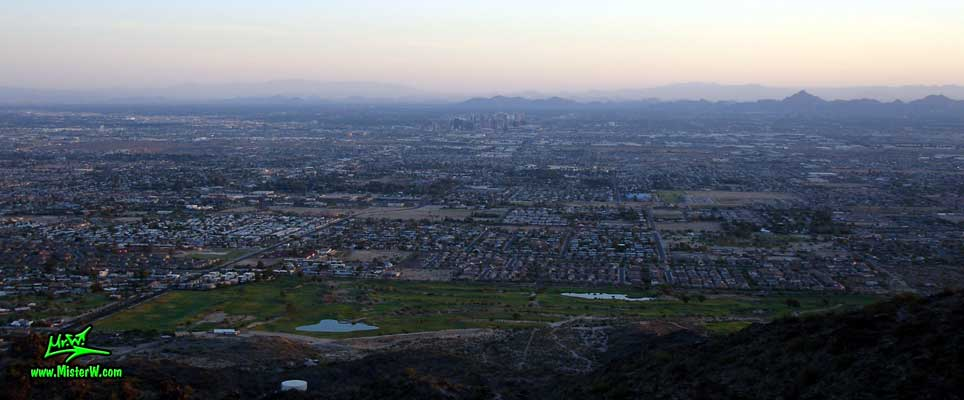 Photo of the Sunrise Skyline of Downtown Phoenix, taken from the South Mountain Park in August 2007 Sunrise in Phoenix, Arizona