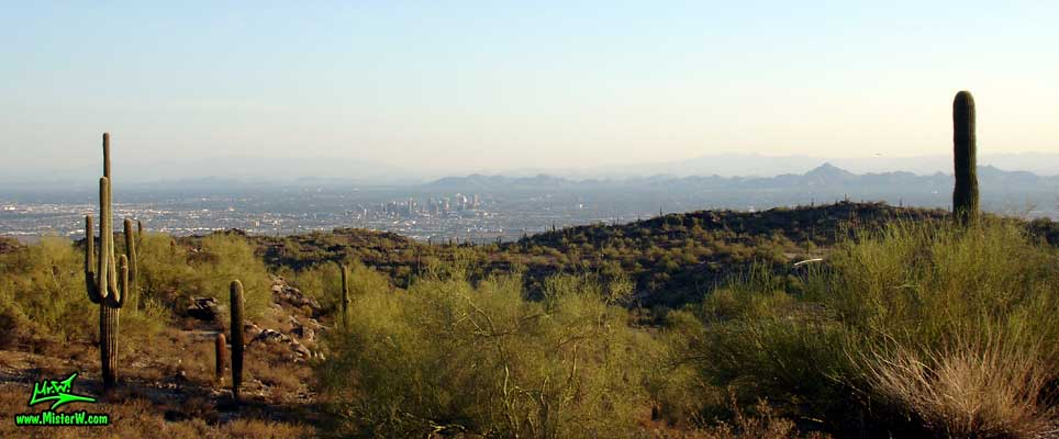 Photo of the Sunrise Skyline of Downtown Phoenix, taken from the South Mountain Park in August 2007 Phoenix, Arizona from the South Mountains