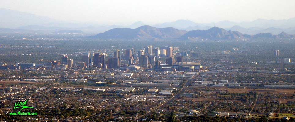 Photo of the Downtown Phoenix Skyline, taken from the South Mountains in August 2007 Downtown Phoenix, Arizona
