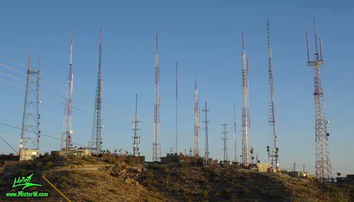 Photo of the antennas at the South Mountain Park in Phoenix, Arizona in summer 2007 Antennas on the South Mountains