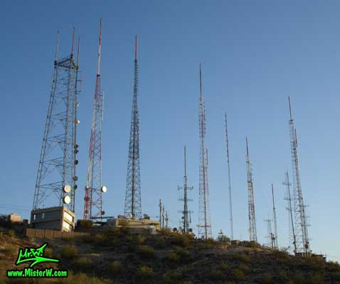 Photo of the South Mountain antennas in Phoenix, Arizona in summer 2007 Antennas in Phoenix, Arizona
