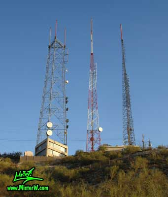 Photo of the antennas on the South Mountains in Phoenix, Arizona, taken in summer 2007 Antennas on the South Mountains