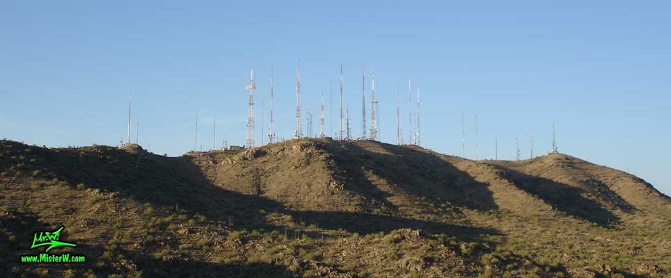 Photo of the antennas on the South Mountain Park in Phoenix, Arizona in summer 2007 South Mountain Park Antennas