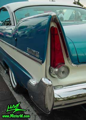 Photo of a turquoise 1957 Chrysler Plymouth Belvedere 2 Door Hardtop Coupe at the Scottsdale Pavilions Classic Car Show in Arizona. 1957 Plymouth Belvedere Tail Fin