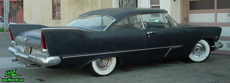 Photo of a flat black 1957 Chrysler Plymouth 2 Door Hardtop Coupe in San Francisco, California. Flat Black 57 Plymouth Belvedere