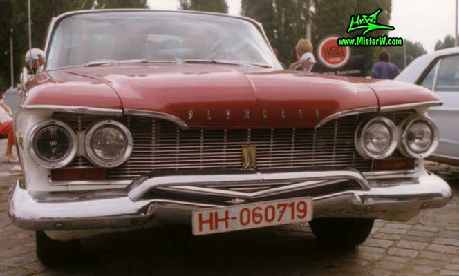 Photo of a dark red 1960 Chrysler Plymouth Fury 2 Door Hardtop Coupe at a classic car meeting in Germany. 1960 Plymouth Fury Chrome Grill