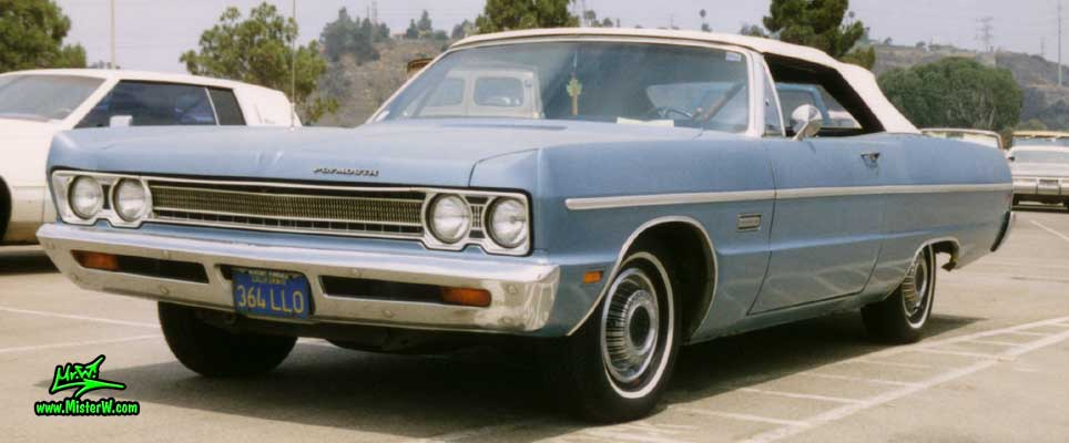 Photo of a blue 1969 Chrysler Plymouth Convertible at the San Diego Auto Swap & Show at the Qualcomm Stadium. 1969 Plymouth Convertible