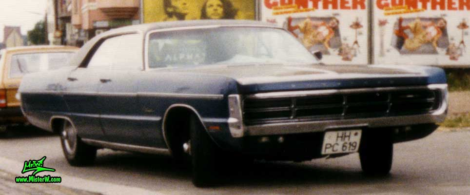 Photo of a blue 1971 Chrysler Plymouth Fury 4 Door Hardtop Sedan at a classic car meeting on the St. Pauli Fischmarkt in Hamburg, Germany. 1971 Plymouth Fury Sedan