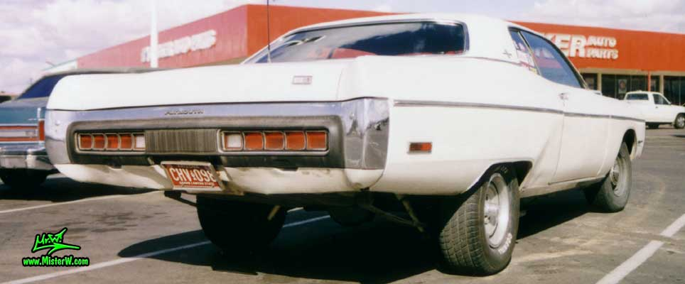 Photo of a white 1972 Chrysler Plymouth Fury 2 Door Hardtop Coupe in Phoenix, Arizona. Rearview of a white 1972 Plymouth Fury Coupe