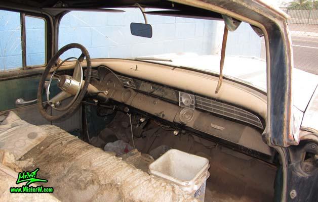Photo of a grey primered 1956 Pontiac ambulance in Phoenix, Arizona. Interior & dash board of a 56 Pontiac Ambulance Wagon