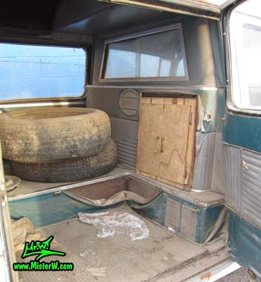 Photo of a grey primered 1956 Pontiac ambulance in Phoenix, Arizona. Interior in the back of a 56 Pontiac Ambulance Wagon
