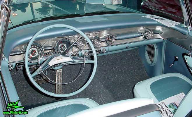 Photo of a blue 1958 Pontiac Bonneville 2 Door Convertible at the Scottsdale Pavilions Classic Car Show in Arizona. 1958 Bonneville Odometer & Dash Board