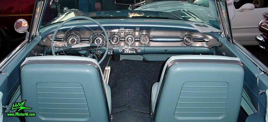 Photo of a blue 1958 Pontiac Bonneville 2 Door Convertible at the Scottsdale Pavilions Classic Car Show in Arizona. 1958 Bonneville Convertible Interior