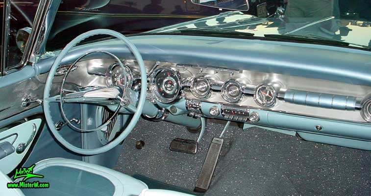 Photo of a blue 1958 Pontiac Bonneville 2 Door Convertible at the Scottsdale Pavilions Classic Car Show in Arizona. 1958 Bonneville Dashboard & Steering Column