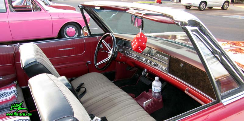 Photo of a red 1967 Pontiac Bonneville Convertible at the Scottsdale Pavilions Classic Car Show in Arizona. 1967 Pontiac Bonneville Convertible Seatbench