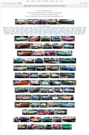 Screenshot of www.ClassicCarMania.com a Project of Mr.W.