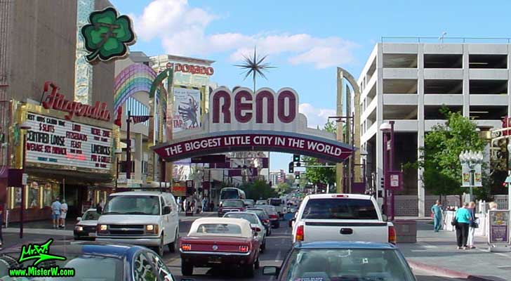 Photo of downtown Reno taken on Virginia Street going north between Douglas Alley & Commercial Row, summer 2002 Reno, the Biggest Little City in the World