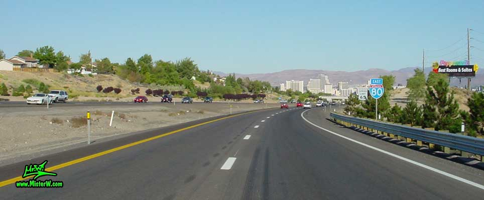 Photo of downtown Reno, Nevada taken from the freeway going east on Interstate 80 in summer 2002 Reno from the Freeway I-80