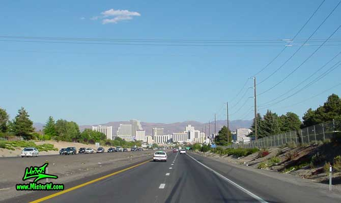 Photo of downtown Reno, Nevada taken from the freeway going east on Interstate 80 in summer 2002 I-80 & Downtown Reno