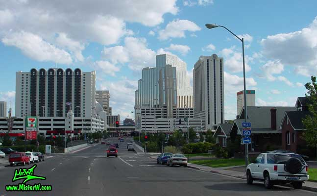 Photo of downtown Reno, Nevada taken from Sierra Street going south between Maple Street & 7th Street, summer 2002<BR>The tallest building in the middle is the Silver Legacy Resort & Casino<BR>In front of it to the left & right the 2 Circus Circus Hotel & Casino buildings  Circus Circus, Silver Legacy Resort & Casino in Downtown Reno