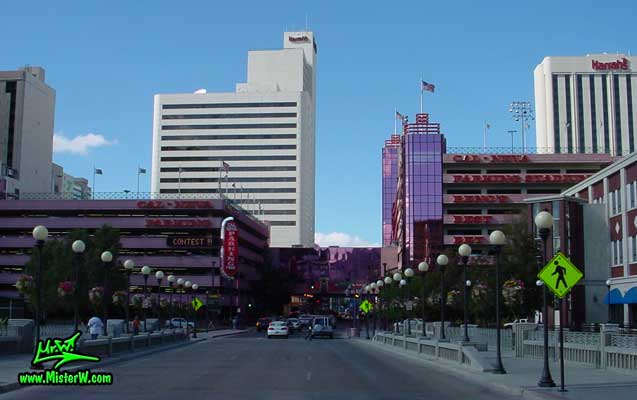 Photo of the Harrah's Casino & Hotel in Reno taken from Center Street going north between Mill Street & 1st Street in summer 2002 The Harrah's Casino Hotel in Reno, Nevada