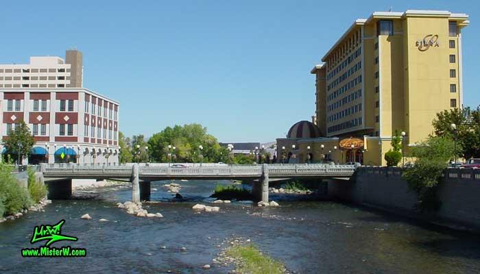 Photo of the Truckee River in Reno taken from Virginia Street looking east between Mill Street & 1st Street in summer 2002 The Truckee River in Reno, Nevada