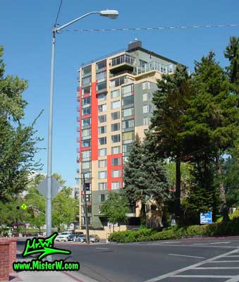 Photo of the Park Tower Condominiums in Reno taken from Arlington Avenue & Court Street looking north east, in summer 2002 Park Tower Condominiums in Reno