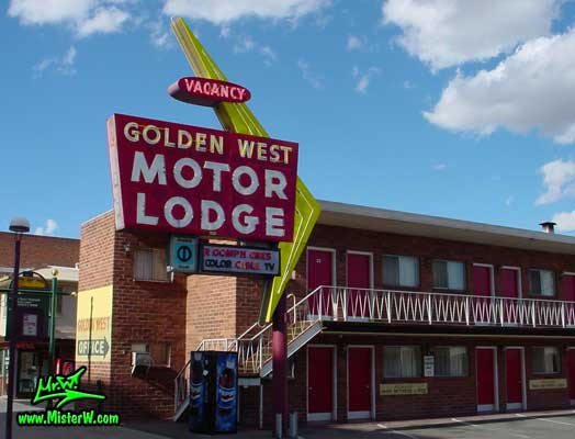 Photo of the Golden West Motor Lodge in Downtown Reno taken from Virginia Street looking north east, between 5th Street & 6th Street, in summer 2002 The Golden West Motor Lodge in Downtown Reno