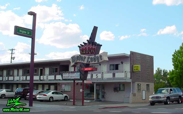 Photo of the Savoy Motor Lodge in Reno taken from Virginia Street looking north, between 7th Street & Maple Street, in summer 2002 The Savoy Motor Lodge in Downtown Reno