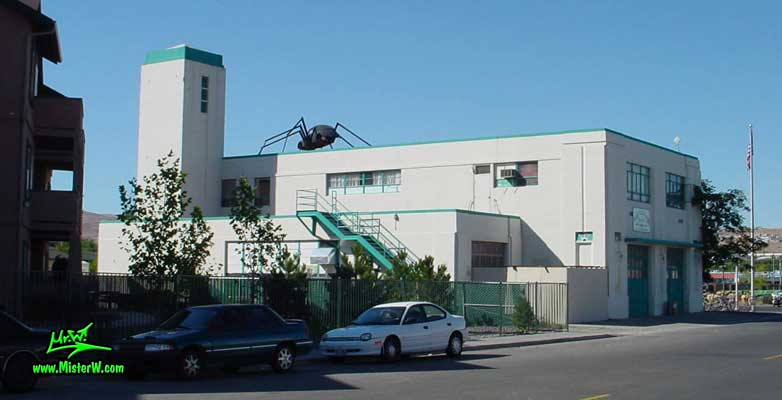 Photo of a Volkswagen Bug Spider Sculpture on top of a Building, taken from Morrill Avenue, summer 2002 Volkswagen Bug Spider in Reno