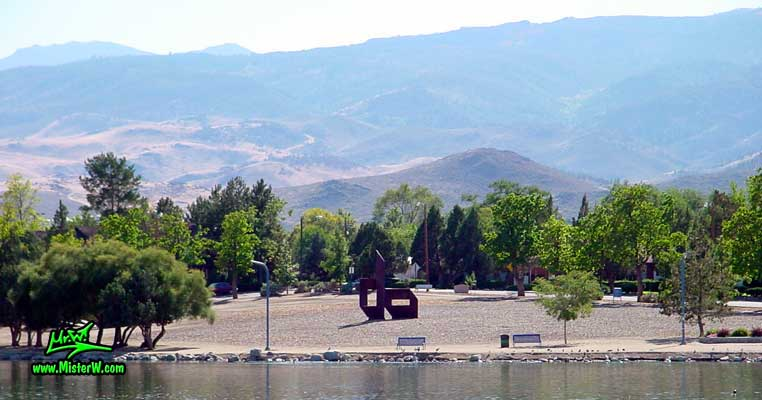 Steel Sculpture at the Virginia Lake in Reno, taken from Eastshore Drive, summer 2002<BR>The Steel Sculpture is locadted on the corner of Lakeside Drive & Eastshore Drive in the Virginia Lake Park Virginia Lake in Reno, Nevada