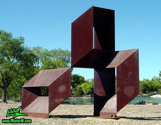 Steel Sculpture at the Virginia Lake in Reno, summer 2002 Rusty Steel Sculpture in Reno