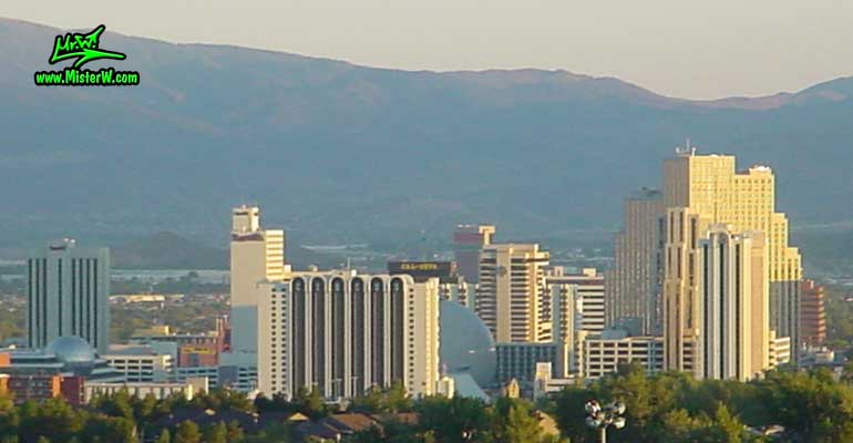 Photo of the downtown Reno skyline, taken from Moraine Way, close to Rancho San Rafael Regional Park, summer 2002 Skyline of Reno