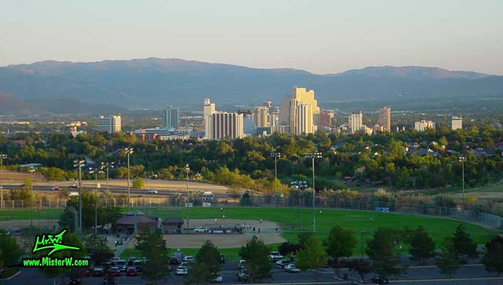 Photo of the downtown Reno skyline, taken from Moraine Way, close to Rancho San Rafael Regional Park, summer 2002 Skyline of Downtown Reno