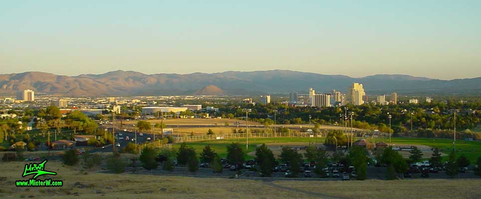 Photo of the Reno Valley, taken from Moraine Way, close to Rancho San Rafael Regional Park, summer 2002 Skyline of the Reno Valley