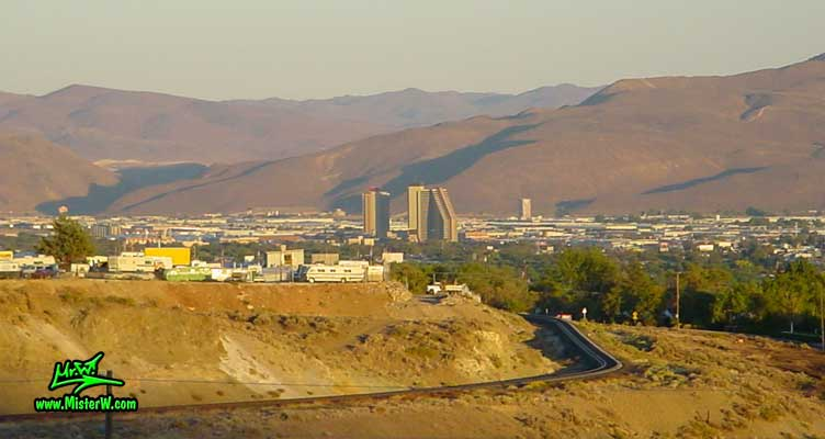 Photo of the Sparks skyline, taken from Moraine Way, close to Rancho San Rafael Regional Park, summer 2002 Skyline of Sparks, Nevada