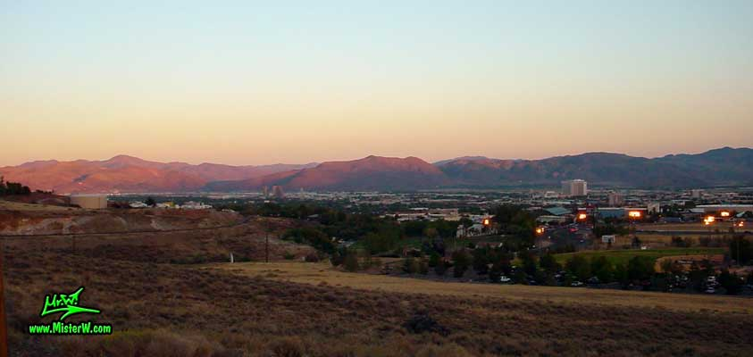 Photo of the Reno & Sparks skyline at sunset, taken from Moraine Way, close to Rancho San Rafael Regional Park, summer 2002 Sunset Skyline of Reno, Nevada
