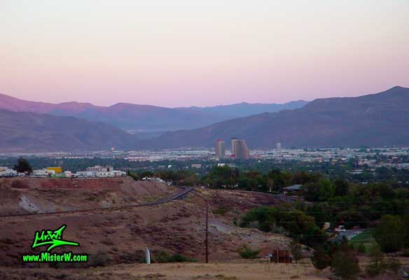 Photo of the Sparks skyline at sunset, taken from Moraine Way, close to Rancho San Rafael Regional Park, summer 2002 Sunset Skyline of Sparks, Nevada