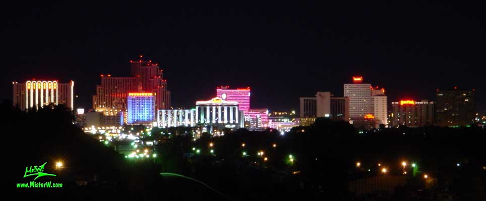 Photo of the Reno skyline at night, taken from Mc Carren Blvd, summer 2002 Reno at night