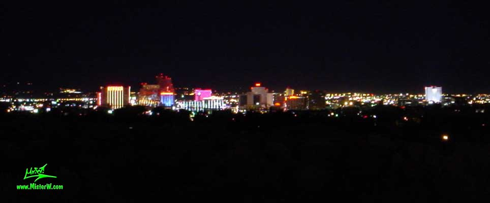 Photo of the Reno skyline at night, taken from Mc Carren Blvd, summer 2002 Downtown Reno at night