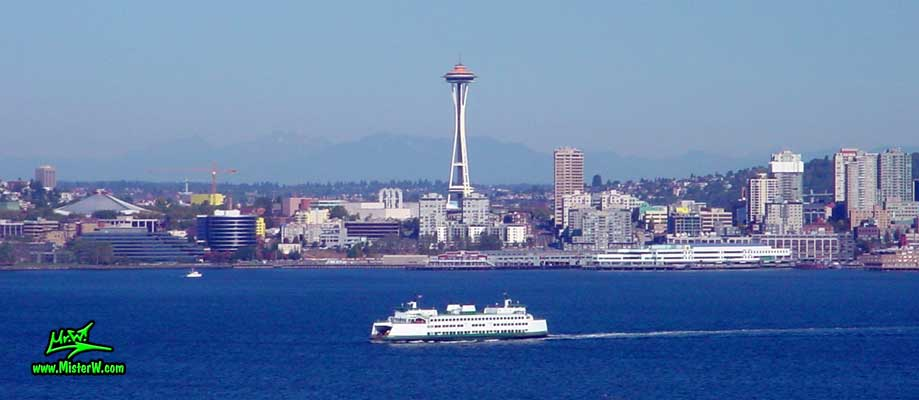 Photo of the Seattle - Bremerton Ferry in front of the Space Needle in Seattle taken from the Hamilton Viewpoint Park in summer 2002  Bremerton Ferry Seattle, Washington